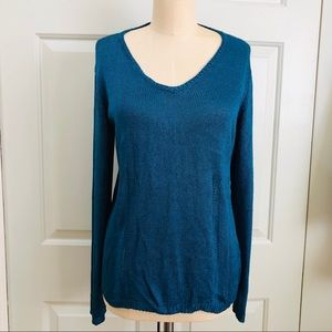 DKNY V Neckline Sweater Rayon Material Teal